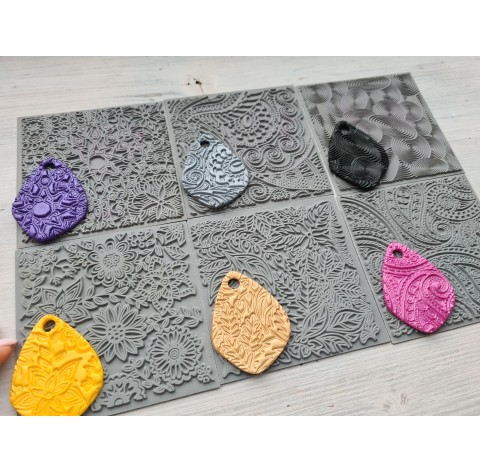 Cernit texture plate for polymer clay, Paisley, 9*9 cm