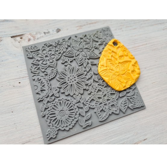 Cernit texture plate for polymer clay, Blossoms, 9*9 cm
