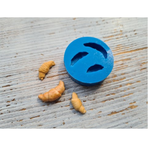 Silicone mold, miniature croissants 3 pcs, ~1.7-2.3 cm