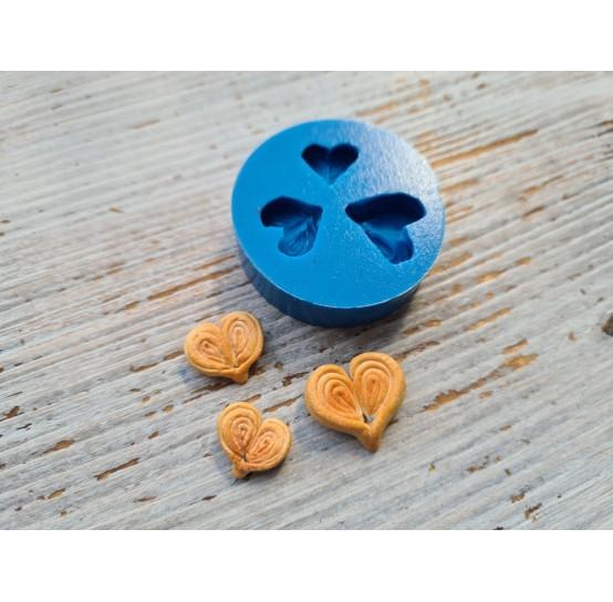 Silicone mold, miniature buns, heart 3 pcs., 1.4-2 cm