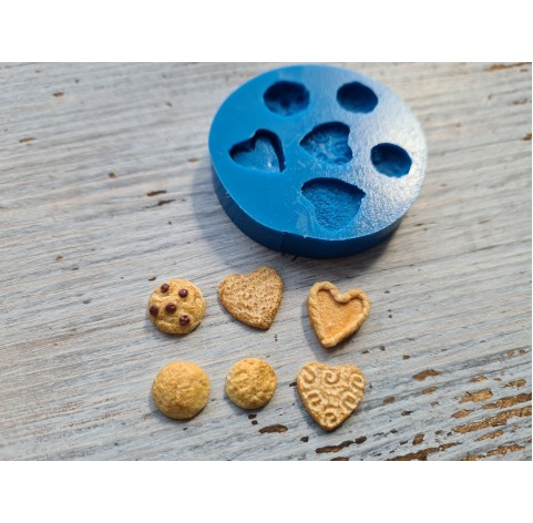 Silicone mold, miniature shortbread cookies 6 pcs., 1-1,4 cm