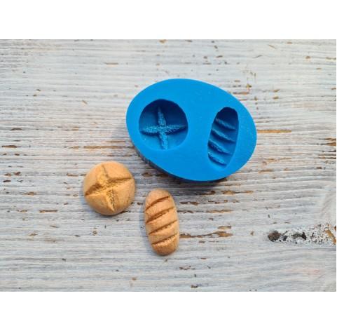 Silicone mold, miniature bread 2 pcs., Ø 2.2 cm, 1.5-2.9 cm