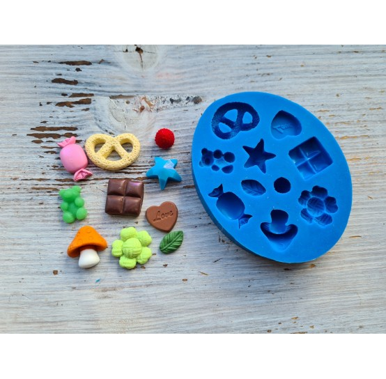 Silicone mold, sweets and other, 10 pcs., (sweets, strawberries, mushrooms) ~ 0.7-2.5 cm