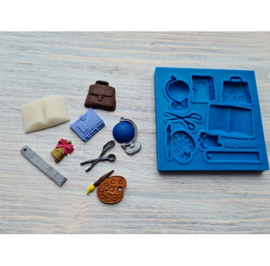 Silicone mold, school set, 8 pcs., ~ 1.2-4.1 cm
