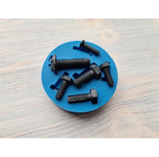 Silicone mold, screws, 6 pcs., ~ 2.5-4.3 cm
