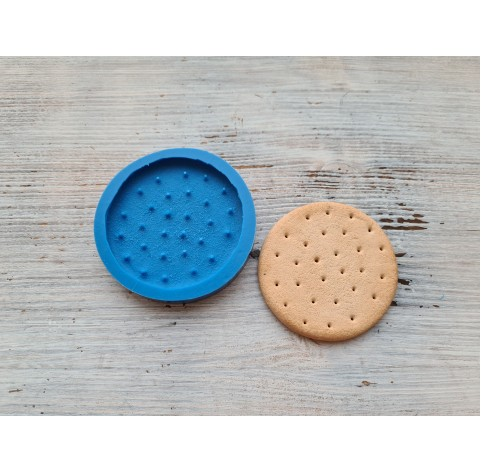 """Silicone mold, large cookie """"B"""", round with holes, Ø 7 cm"""
