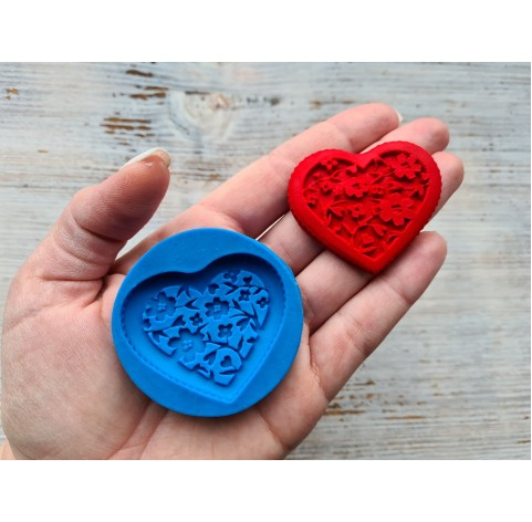 Silicone mold, heart with flowers, ~ 4.2*5 cm