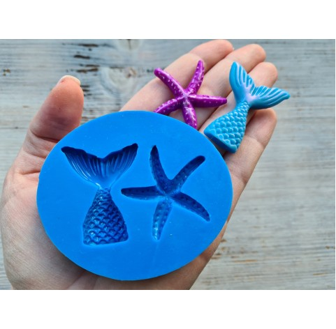 Silicone mold, mermaid's tail and seashells, ~ 5*4 cm