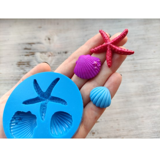 Silicone mold, starfish and seashells, ~ 2*4 cm