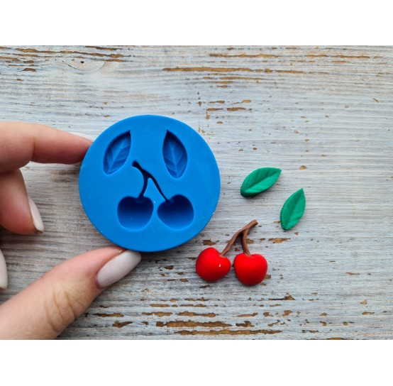 Silicone mold cherries with leaves, ~ Ø 1.2-1.5 cm