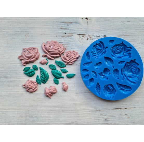 Silicone mold, roses and leaves, different sizes, 18pcs., ~ 0.8-4.5cm