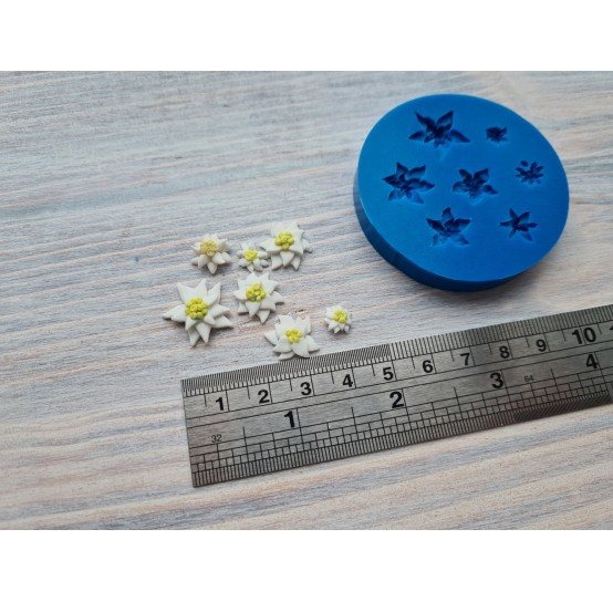 Silicone mold, edelweiss flowers, 7 pcs., ~ 0.8-1.5 cm
