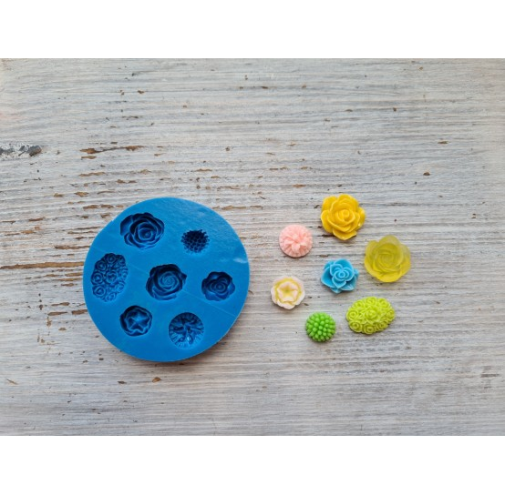 Silicone mold, flowers, 7 pcs., ~ 1.7-2.2 cm