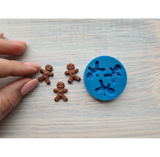 Silicone mold, gingerbread mans, 3 pcs., ~ 1.3*2.3 cm