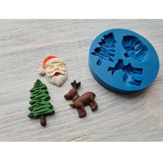 Silicone mold, Christmas set, 3 pcs., ~ 2.5-3.6 cm