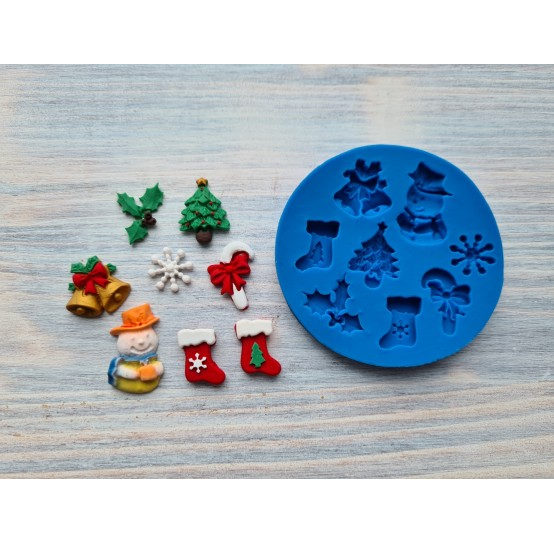 Silicone mold, Christmas set, ~ 1.3-2.2 cm