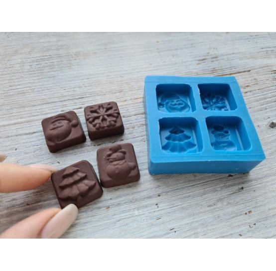 Silicone mold, candy set (spruce, snowflake, snowman, santa claus), ~ 2.2 cm