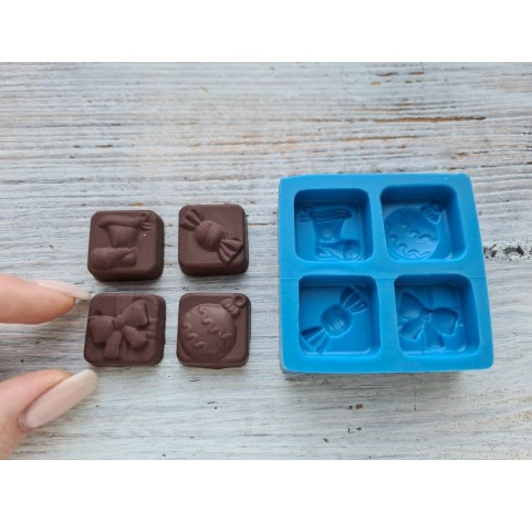 Silicone mold, candy set (candy, gift, ball, Christmas sock), ~ 2.2 cm