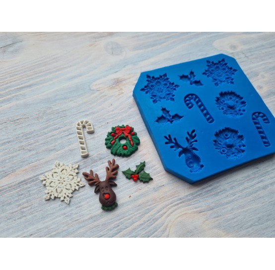 Silicone mold, Christmas set, 9 pcs., ~ 2.5-3.3 cm