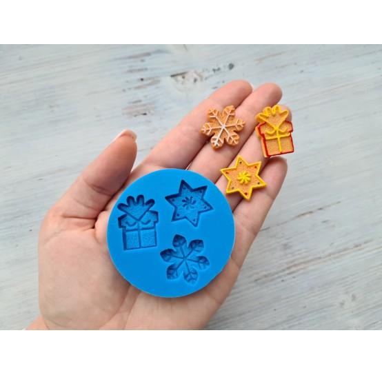 Silicone mold, Christmas set 5, 3 pcs., gift ~ 2.8 cm, snowflake ~ 2.5 cm, star ~ 2.6 cm