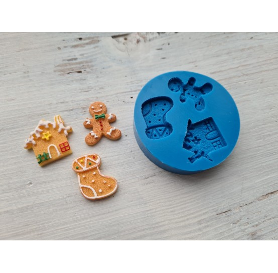 Silicone mold, Christmas set 6, 3 pcs., house ~ 2.3 cm, ginger man ~ 2.8 cm, sock ~ 2.5 cm