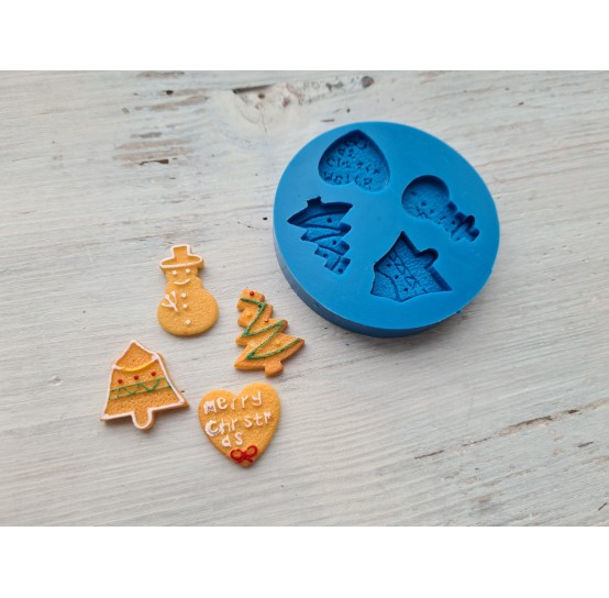Silicone mold, Christmas set 7, 4 pcs., snowman ~ 2.8 cm, spruce ~ 2.3 cm, bell ~ 2.8 cm, heart ~ 1.1 cm