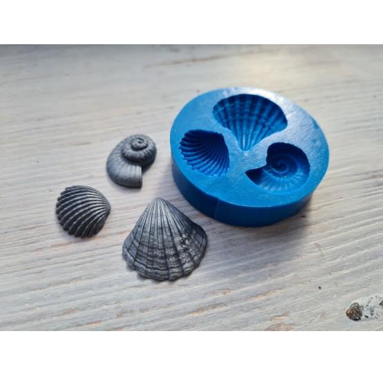 Silicone mold, seashells, 3 pcs., ~ 2-3 cm