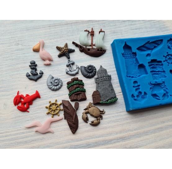 Silicone mold, sea thematic set 14 pcs., ~ 1-5 cm