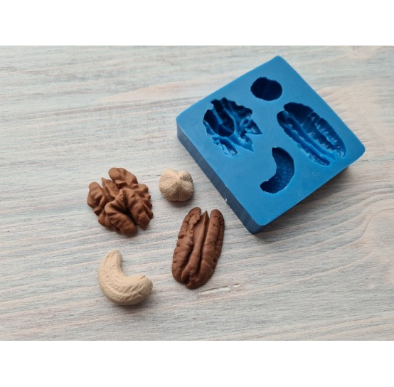 Silicone mold, set of nuts, 4 pcs., ~ 1.4-3 cm
