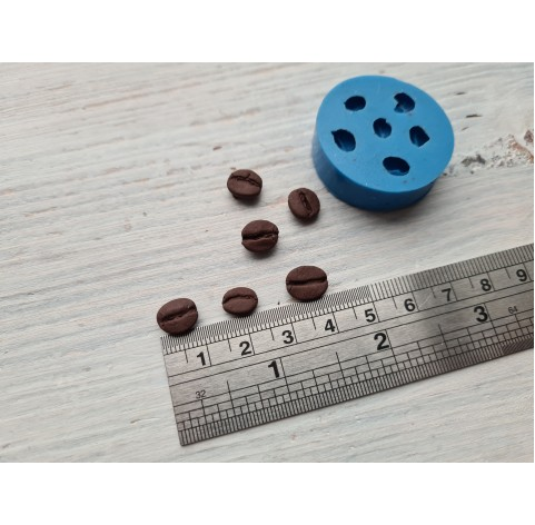 Silicone mold, coffee beans, 6 beans, ~ 0.6-1 cm