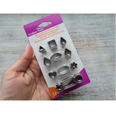 """Set of metal cutters, for cutting plastic pearls """"Basic Shapes"""", 12 pcs., 1.2*1-2.2*1.2 cm"""