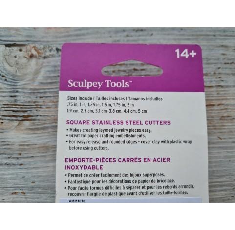 "Set of metal cutters Sculpey ""Square"", 6 pcs., Ø 1.9-5 cm"