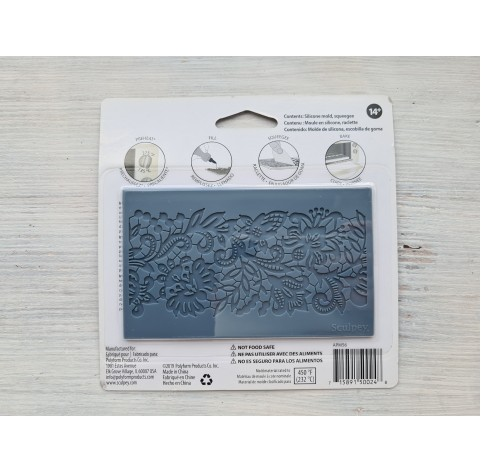 """Sculpey silicone mold for plastic, """"Lace"""", 7.5*12.6 cm + squeegee"""
