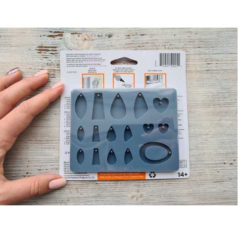 """Sculpey silicone mold for plastic, """"Jewelry"""", 9.5*12.4 cm + squeegee"""