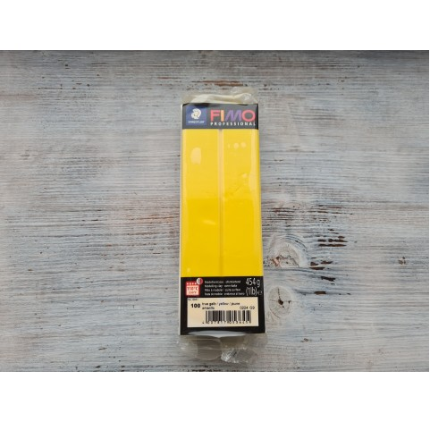 FIMO Professional oven-bake polymer clay, true yellow, Nr.100, 454 gr