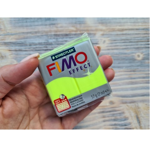 FIMO Effect Neon oven-bake polymer clay, neon yellow, Nr. 101, 57 gr