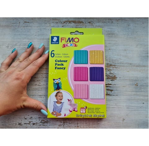 FIMO Kids oven-bake polymer clay, pack of 6 colours for girls, 252 gr