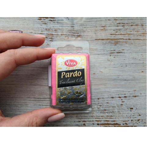 PARDO oven-bake polymer clay, red translucent, Nr. 422, 56 gr