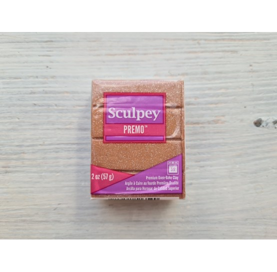 Sculpey Premo Accents oven-bake polymer clay, rose gold glitter, Nr. 5135, 57 gr