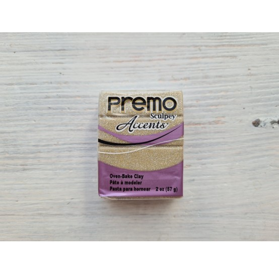Sculpey Premo Accents oven-bake polymer clay, yellow gold glitter, Nr. 5147, 57 gr