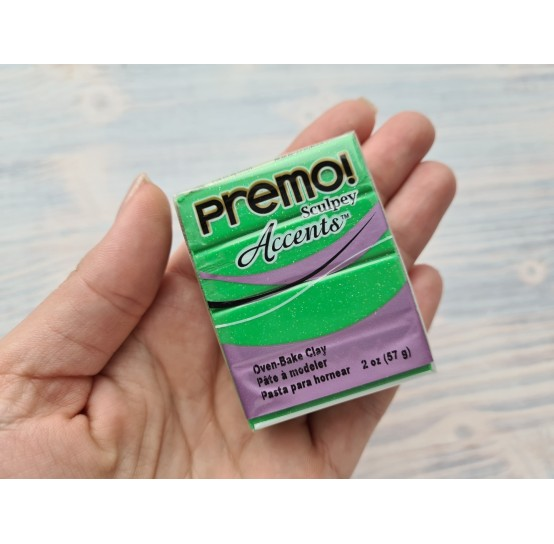 Sculpey Premo Accents oven-bake polymer clay, green glitter, Nr.5550, 57 gr