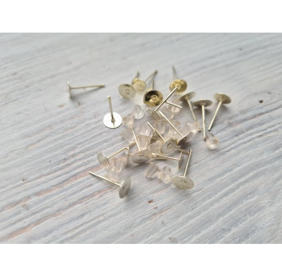 Fittings for earrings with silicone fastening, 20 pcs.