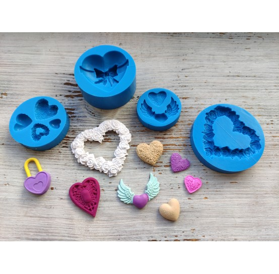 Silicone molds of diamonds and hearts (7)