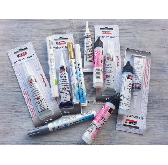 Contour colours, markers, pearl paint for different surfaces