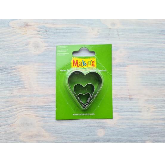 Set of metal cutters Makins, heart, 3 pcs., 1,3*1,5 сm, 2,5*2,2 cm, 4,1*3,8 cm