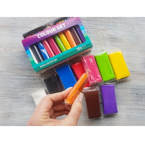 Cernit Number One oven-bake polymer clay, pack of 10 colours, 300 gr