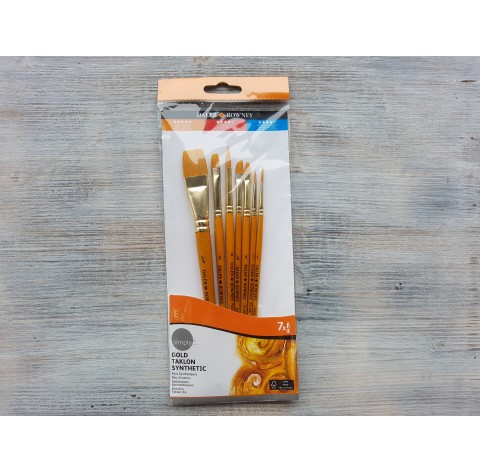 "SIMPLY, synthetic brush set ""Gold Taklon"", short handles, pack of 7 pcs."