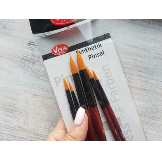 Brush set, No. 2,4,6,8,10,12, synthetic, round, pack of 6 pcs.
