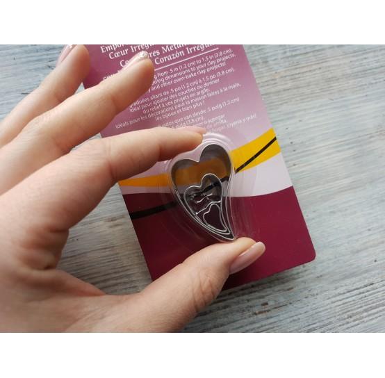 """Set of metal cutters Sculpey """"Irregular Heart"""", 3 pcs., 1.2 cm, 2.5 cm, 3.8 cm"""