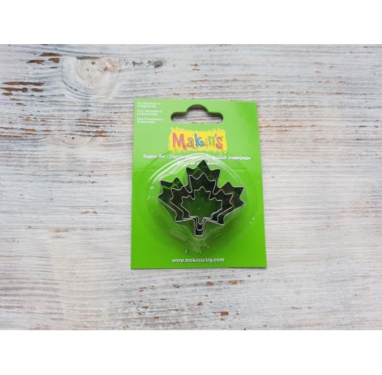 Set of metal cutters Makins, maple leaf, 3 pcs., 2*1.9 cm, 3.2*2.7 cm, 4.2*3.7 cm